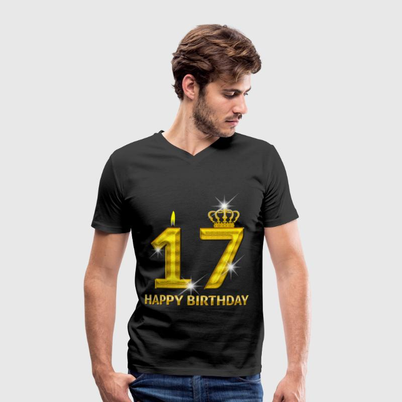 17-happy birthday - birthday - number gold T-Shirts - Men's Organic V-Neck T-Shirt by Stanley & Stella