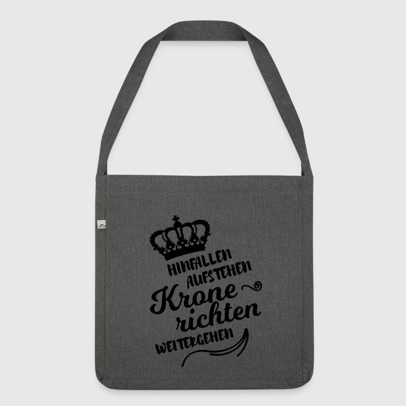 hinfallen krone richten weitergehen lustig spruch schultertasche spreadshirt. Black Bedroom Furniture Sets. Home Design Ideas