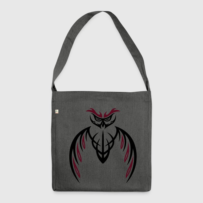 Große Eule (Kauz) im Tribal & Tattoo Style.  - Schultertasche aus Recycling-Material