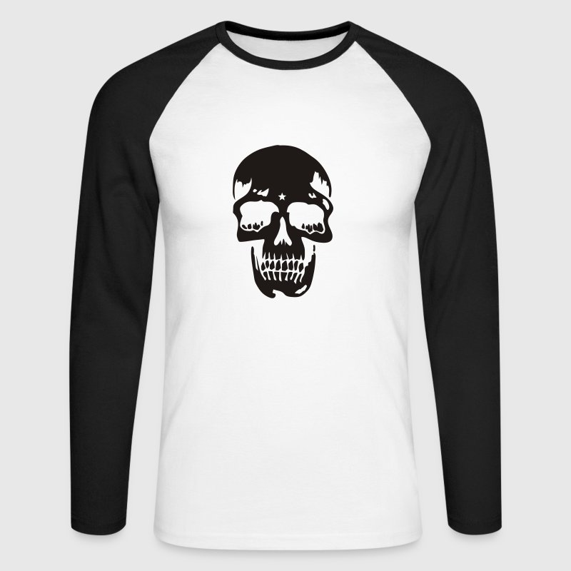 Blanc/noir skull pirate death heavy metal T-shirts manches longues - T-shirt baseball manches longues Homme