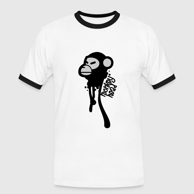 White/black Monkey Head Men's T-Shirts - Men's Ringer Shirt