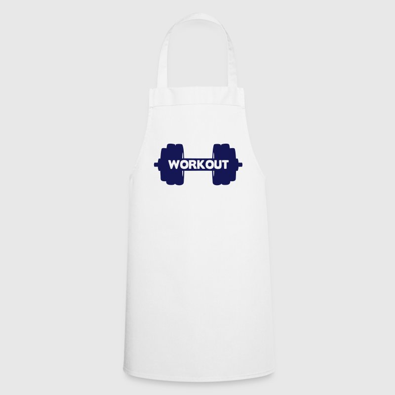Workout musculation word quote dumbbell  Aprons - Cooking Apron