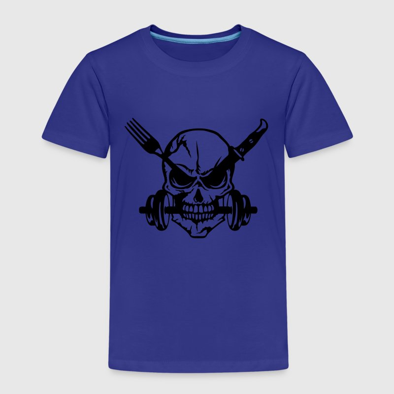 skull Knife fork dumbbell bodybuilding Shirts - Kids' Premium T-Shirt