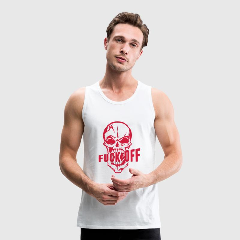 Fuck off insult skull  quote from Sports wear - Men's Premium Tank Top