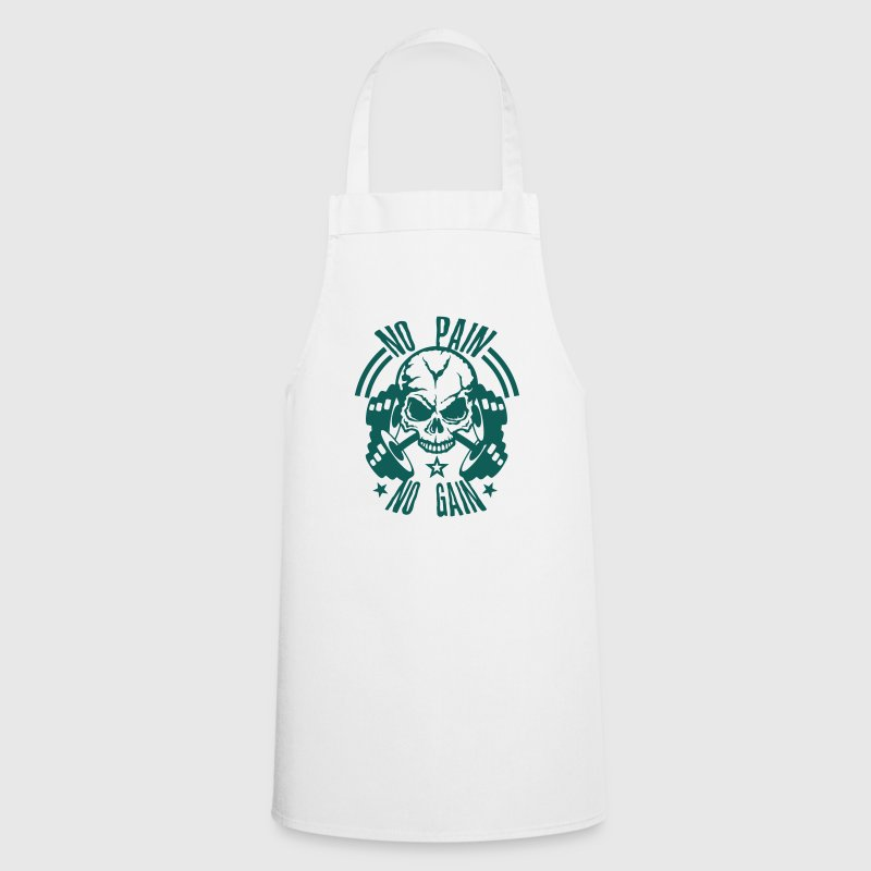 no pain gain quote skull bodybuilding dumbbell  Aprons - Cooking Apron
