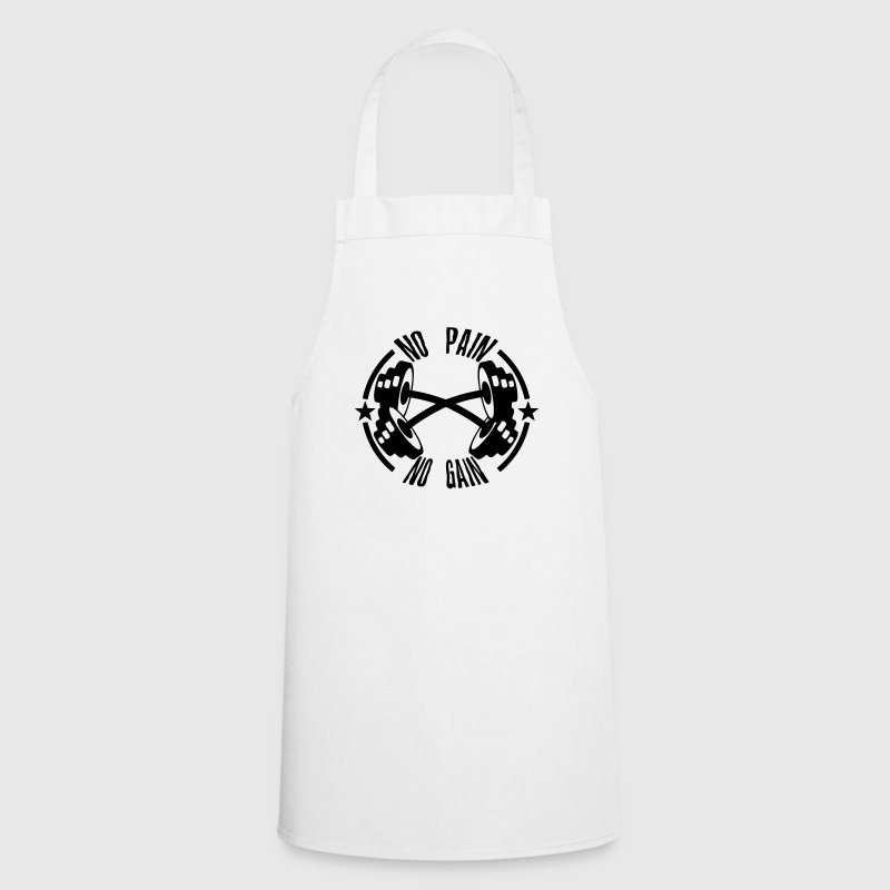 no pain gain quote bodybuilding dumbbell  Aprons - Cooking Apron