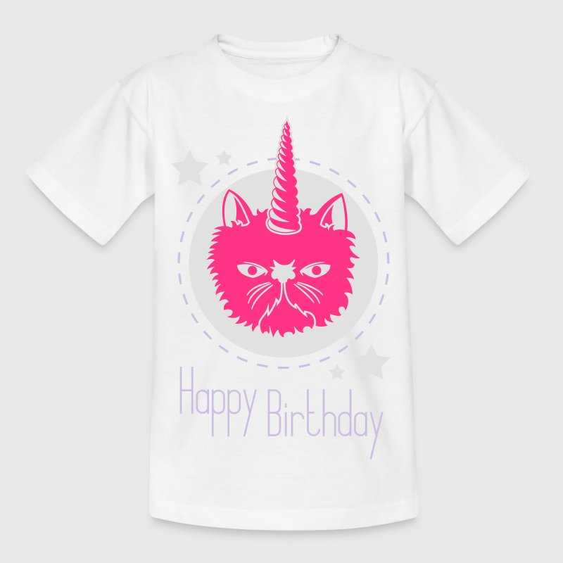 Einhorn-Katze Happy Birthday - Kinder T-Shirt