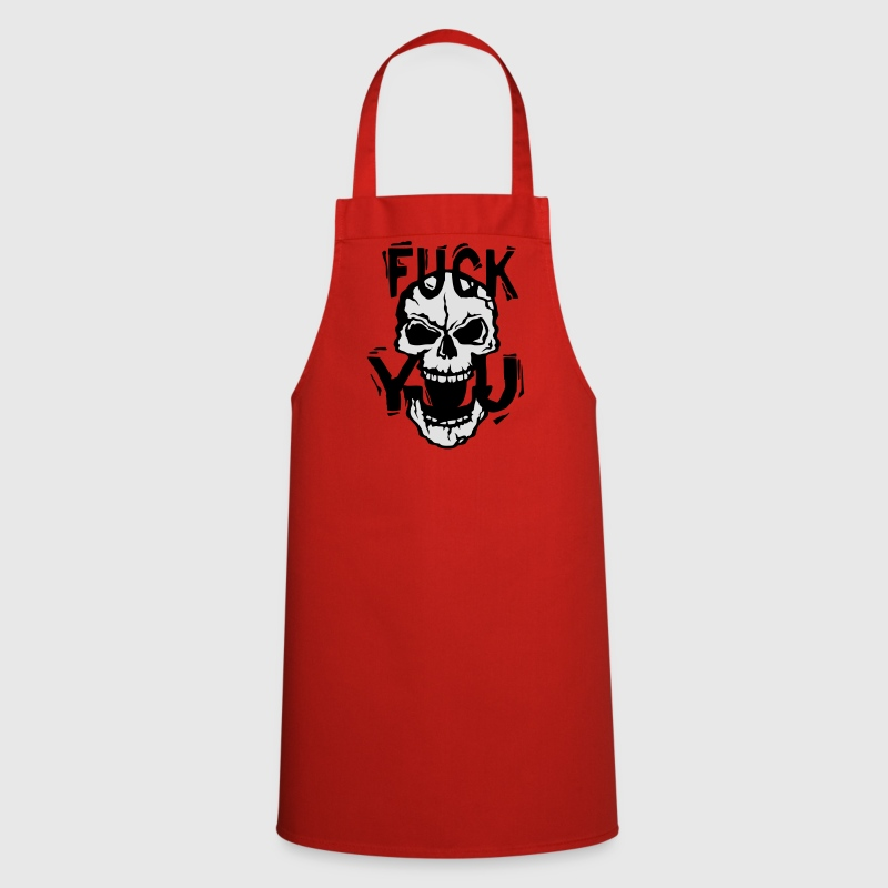 Fuck you insult quote skull  Aprons - Cooking Apron