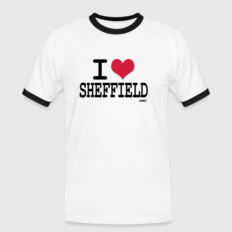 White/black i love sheffield by wam Men's T-Shirts - Men's Ringer Shirt