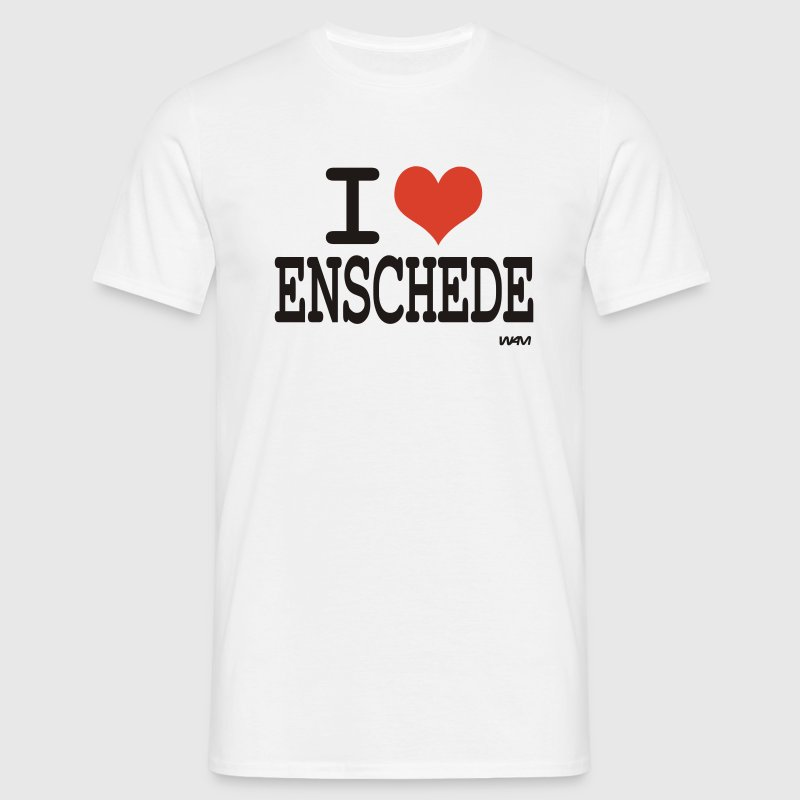 Wit i love enschede by wam T-shirts - Mannen T-shirt