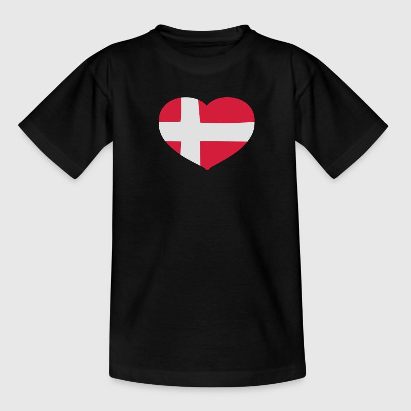 Sort Hjerteformet Dannebrog Børne T-shirts - Teenager-T-shirt