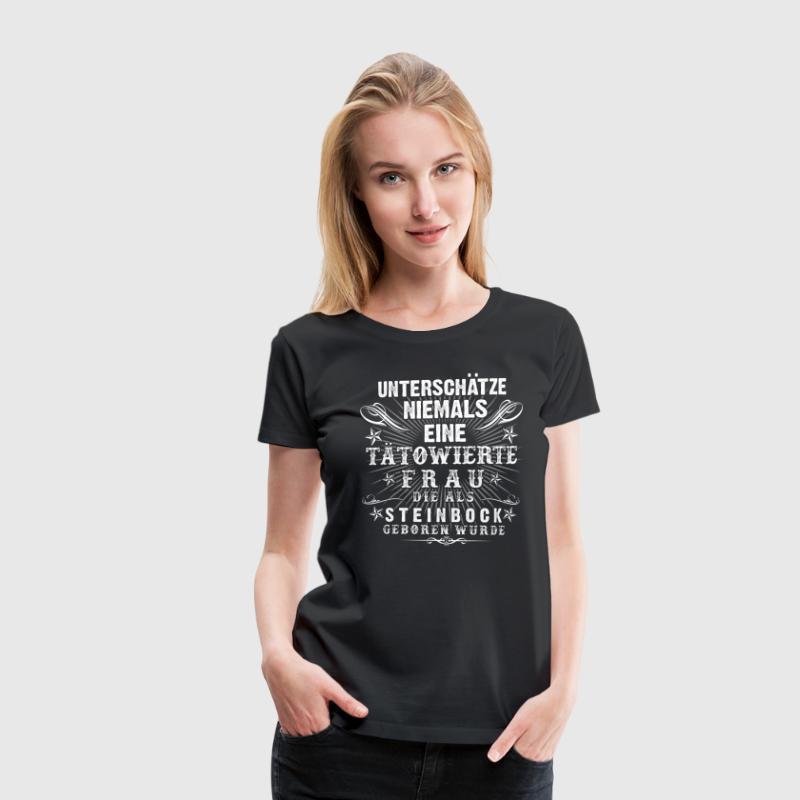 die t towierte steinbock frau t shirt spreadshirt. Black Bedroom Furniture Sets. Home Design Ideas