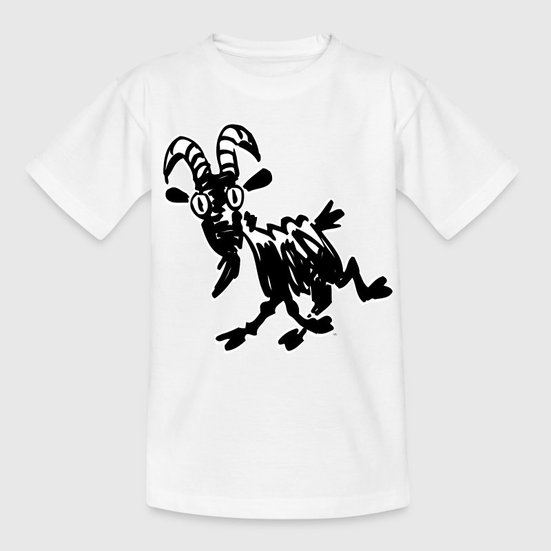White Trotting Cartoon Black Goat by Cheerful Madness!! Kids' Shirts - Teenage T-shirt