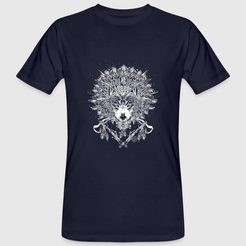 wolf h uptling mit kopfschmuck t shirt spreadshirt. Black Bedroom Furniture Sets. Home Design Ideas