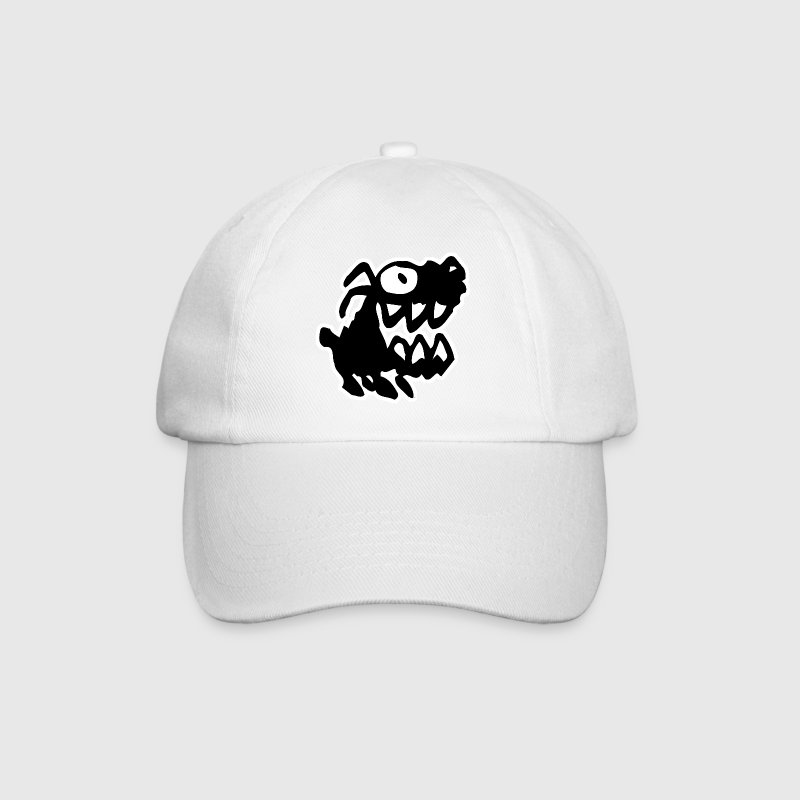 White/white Bow Wow! Black Cartoon Dog by Cheerful Madness!! Caps & Hats - Baseball Cap