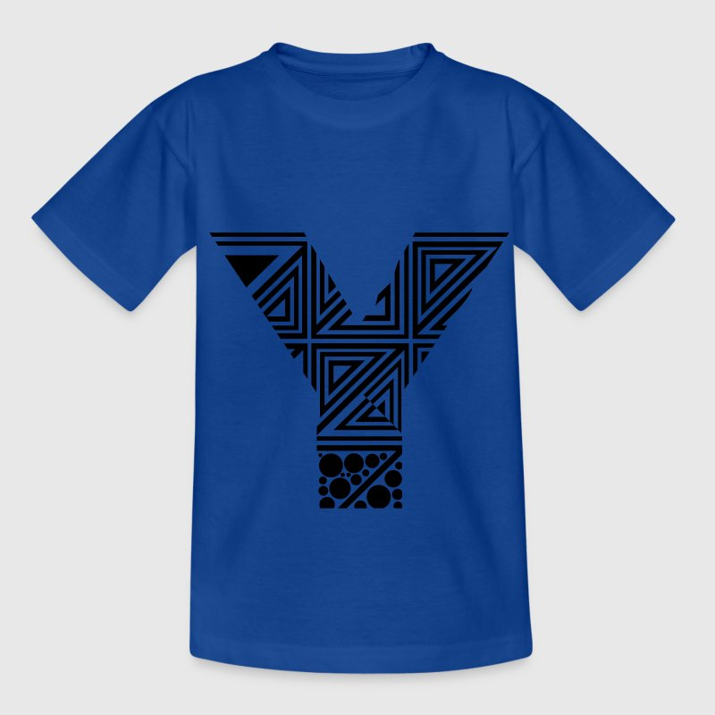 Royal blue letter Y Kids' Shirts - Teenage T-shirt