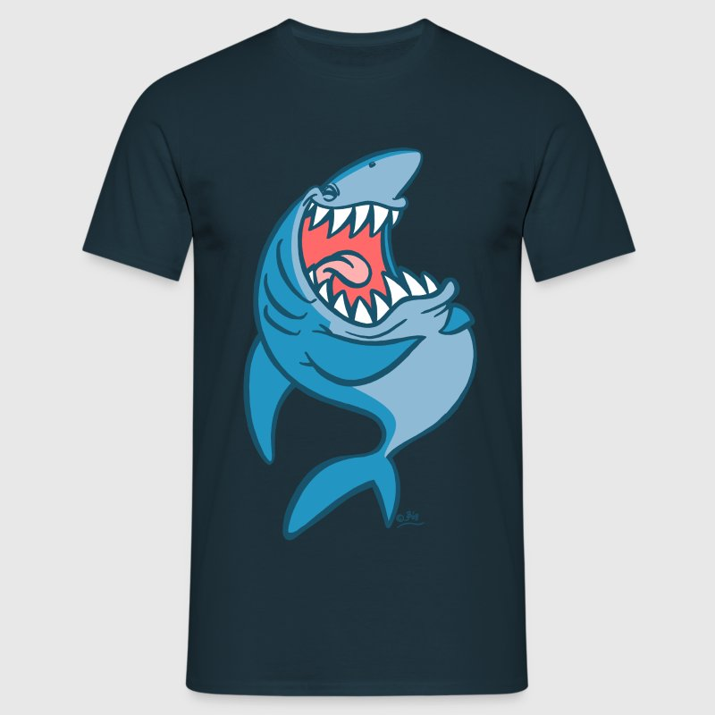 Laughing Blue Cartoon Shark - Men's T-Shirt