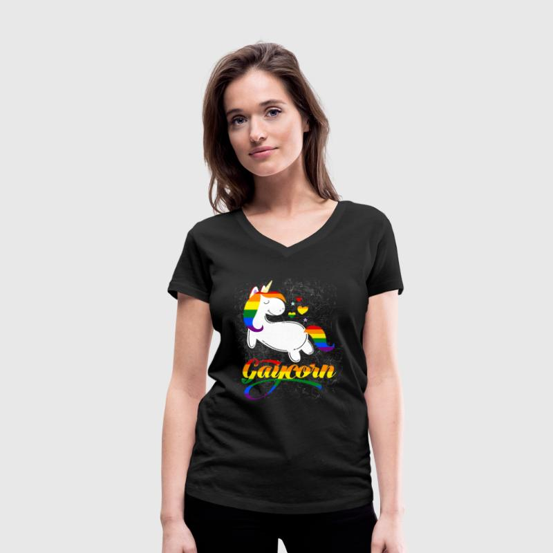 Gaycorn - Gay Unicorn T-Shirts - Women's Organic V-Neck T-Shirt by Stanley & Stella