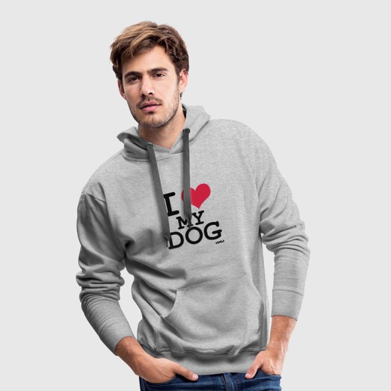 Heather grey i love my dog by wam Jumpers - Men's Premium Hoodie