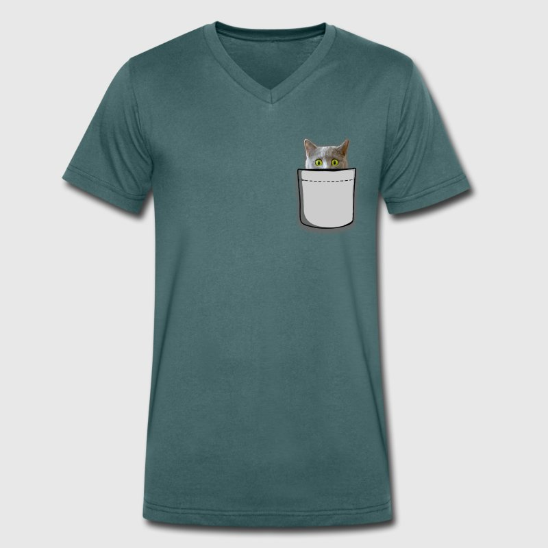 Cat bag T-Shirts - Men's Organic V-Neck T-Shirt by Stanley & Stella