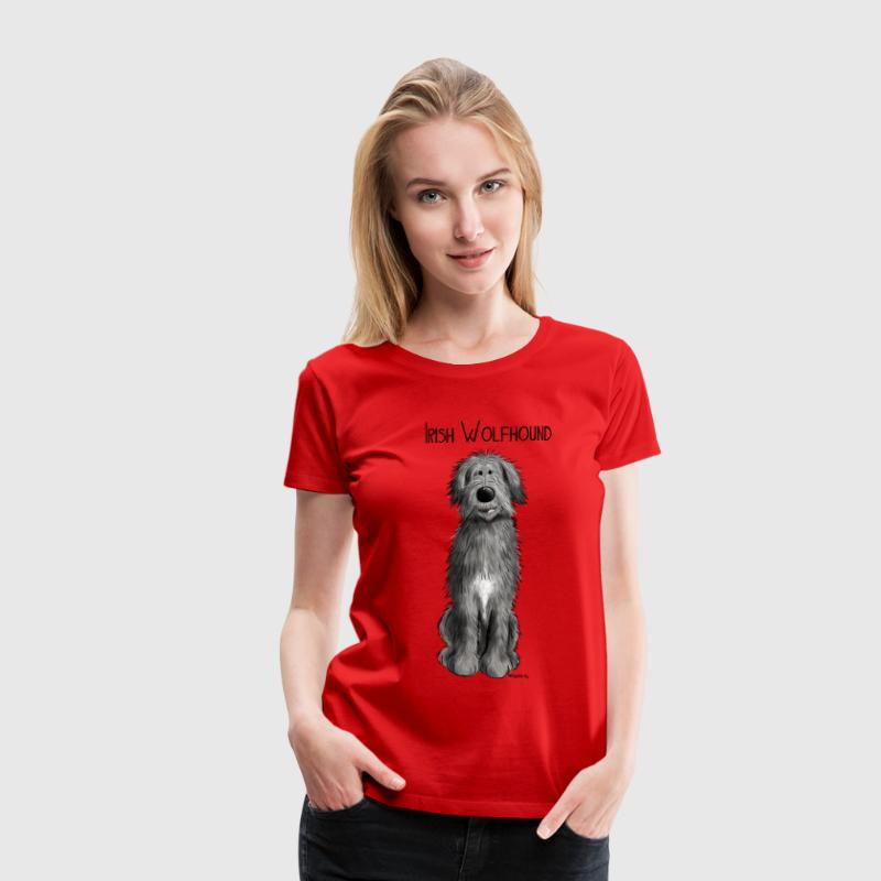 Funny Irish Wolfhound - comic - dog - cartoon T-Shirts - Women's Premium T-Shirt