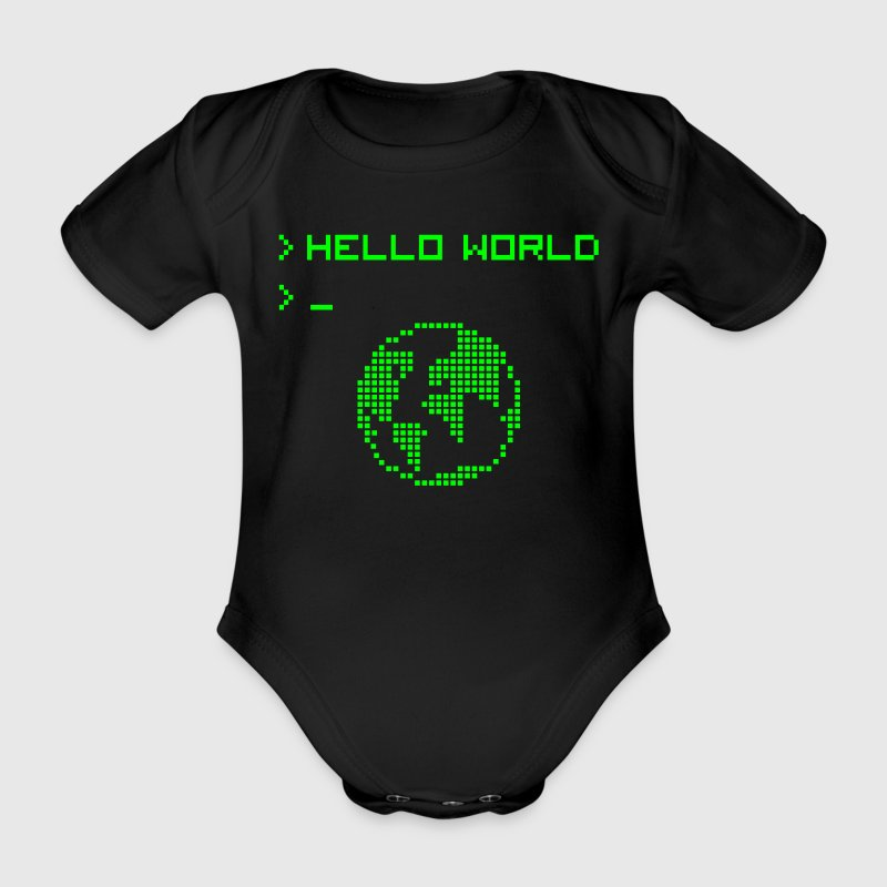 Hello World Baby Body - Baby Bio-Kurzarm-Body