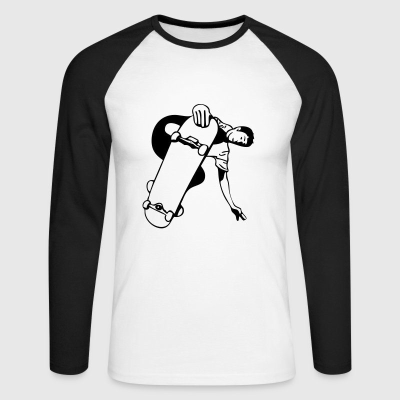 Blanc/noir skate T-shirts manches longues - T-shirt baseball manches longues Homme