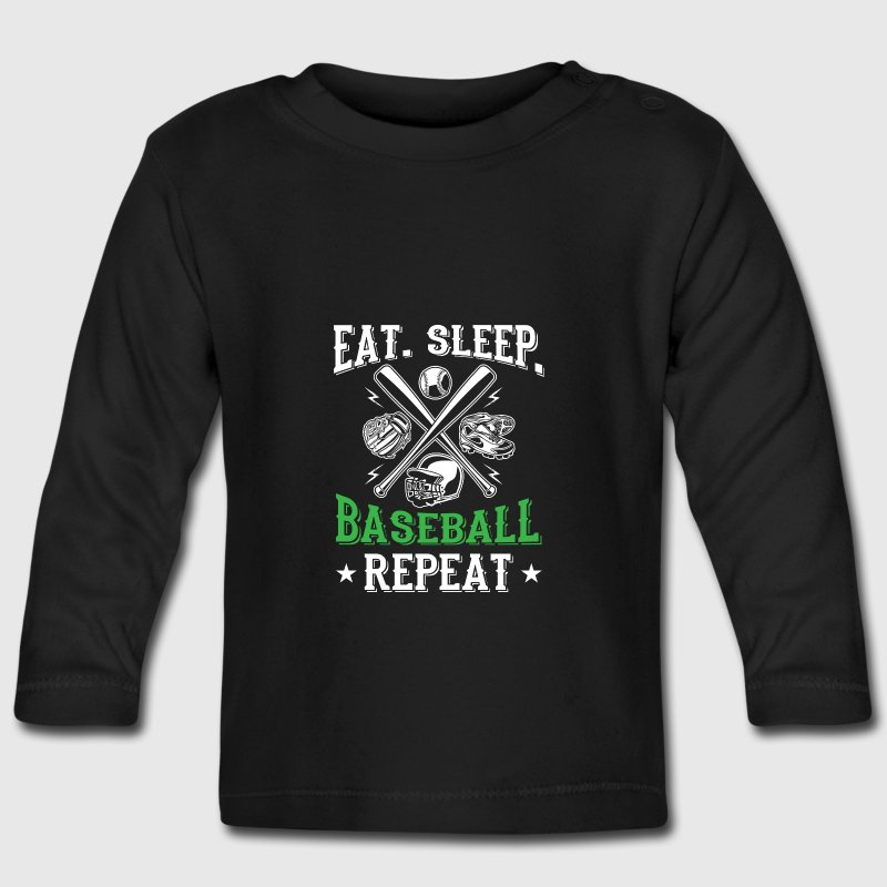 Eat sleep baseball repeat cool sport design baby long for Cool sports t shirt designs