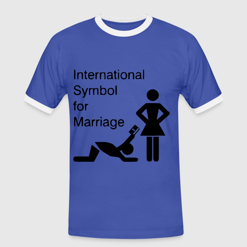 Blau/weiß International Symbol for Marriage - Hochzeit - Heirat - Wedding - funny - lustig - fun - joke - Spru T-Shirts - Männer Kontrast-T-Shirt