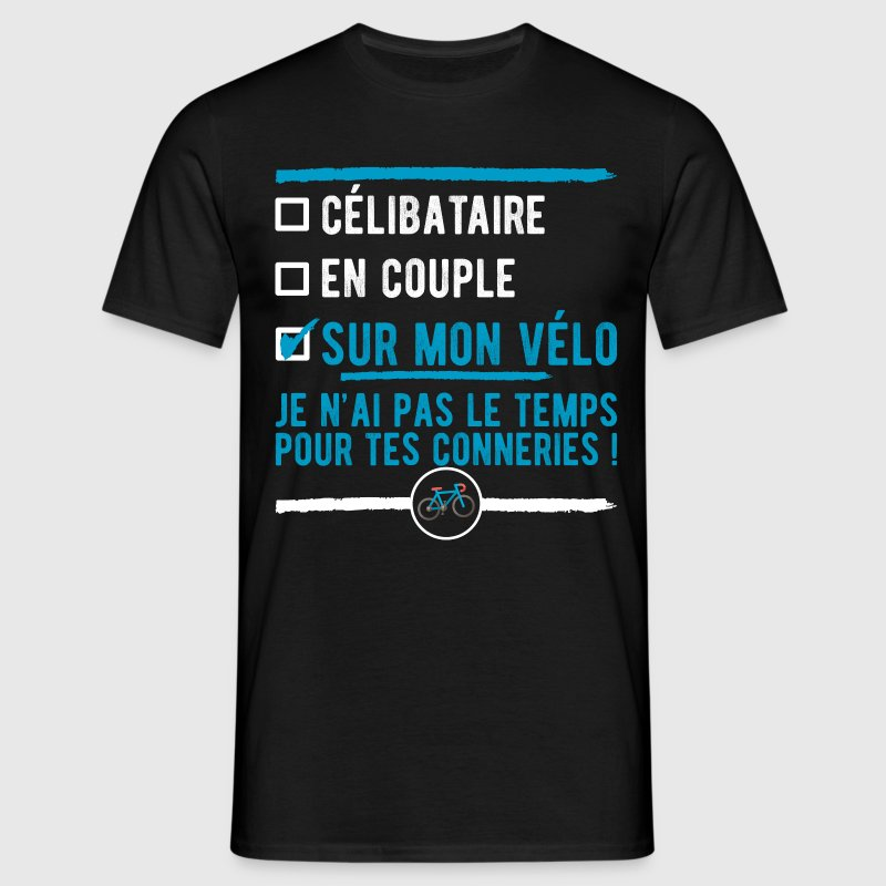 t shirt c libataire sur mon v lo t shirt humour cycliste. Black Bedroom Furniture Sets. Home Design Ideas