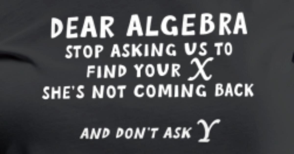 Dear Algebra stop asking me to find X T-Shirt   Spreadshirt Dear Math Stop Asking Me To Find Your X