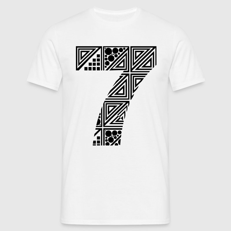 White  Men's number 7 seven T-Shirts - Men's T-Shirt