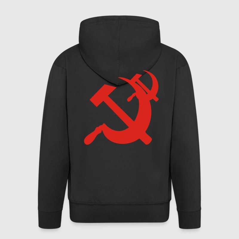 Black Hammer and Sickle Coats & Jackets - Men's Premium Hooded Jacket