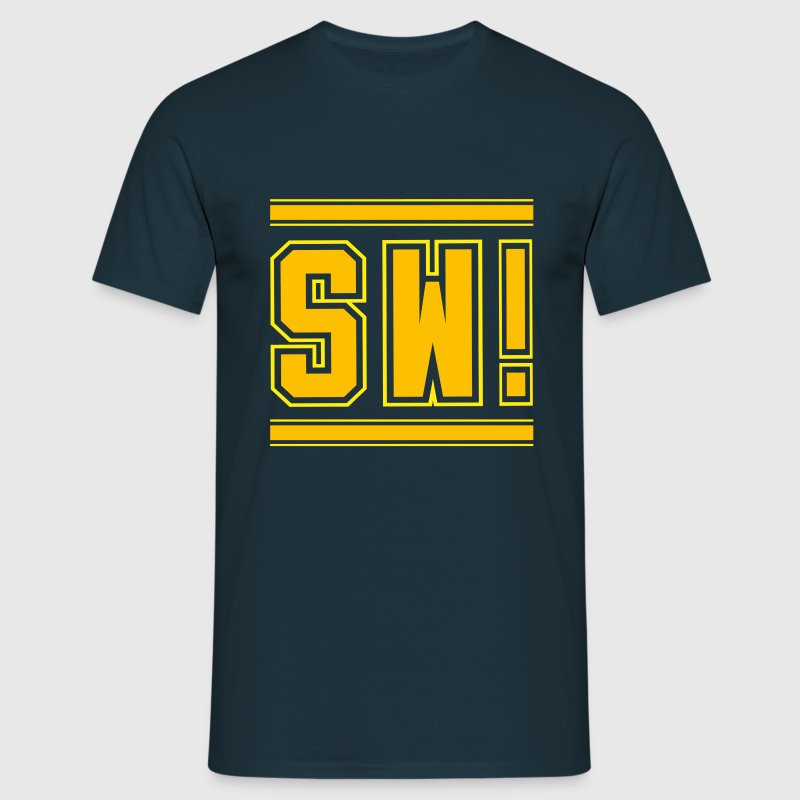 super wang blaues t shirt f r m nner gelb ora t shirt. Black Bedroom Furniture Sets. Home Design Ideas