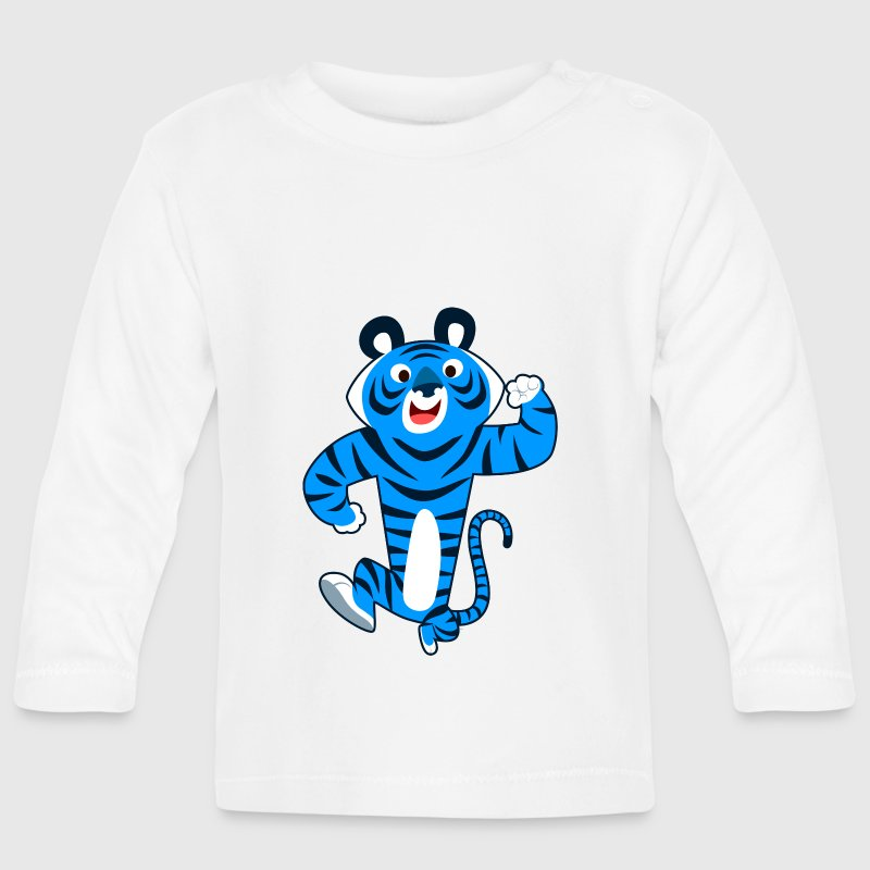 Big Blue Cartoon Tiger by Cheerful Madness!! Long Sleeve Shirts - Baby Long Sleeve T-Shirt