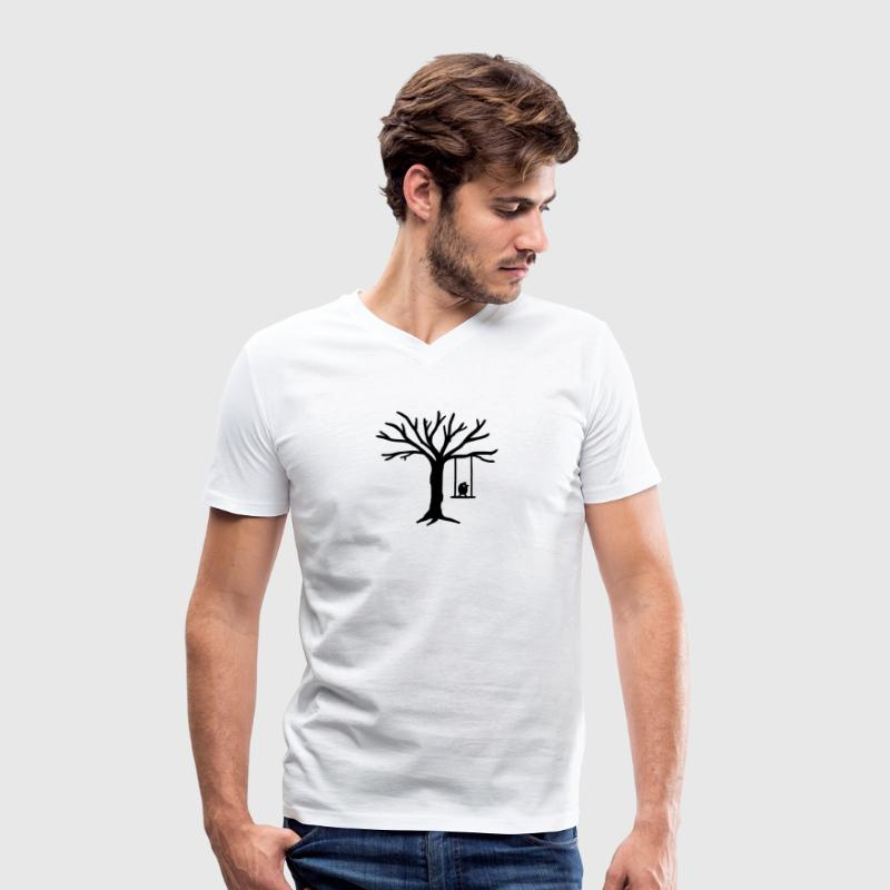 Bird Tree Swing T-Shirts - Men's Organic V-Neck T-Shirt by Stanley & Stella