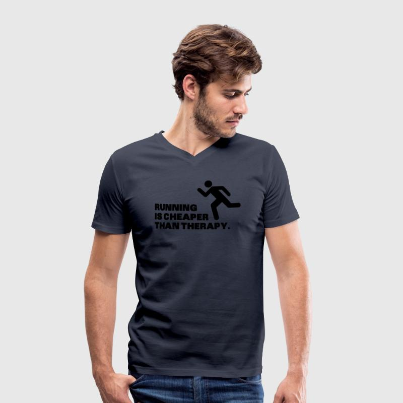 Running Is Cheaper Than Therapy T-Shirts - Men's Organic V-Neck T-Shirt by Stanley & Stella