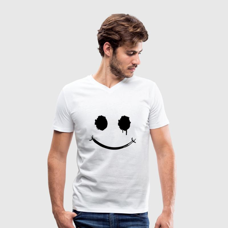A smiley face graffiti T-Shirts - Men's Organic V-Neck T-Shirt by Stanley & Stella