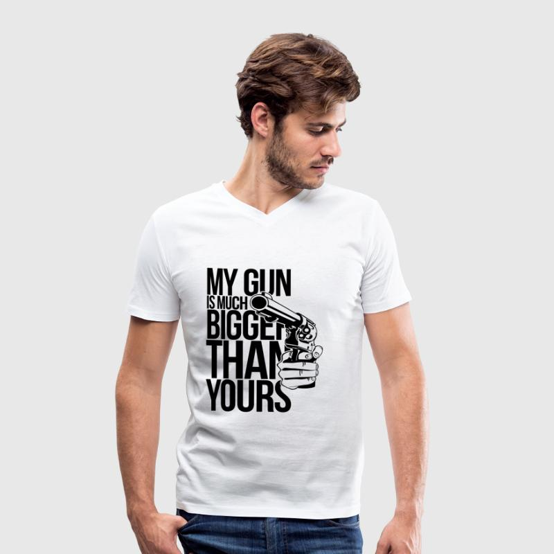 My gun is much bigger than yours T-Shirts - Men's Organic V-Neck T-Shirt by Stanley & Stella