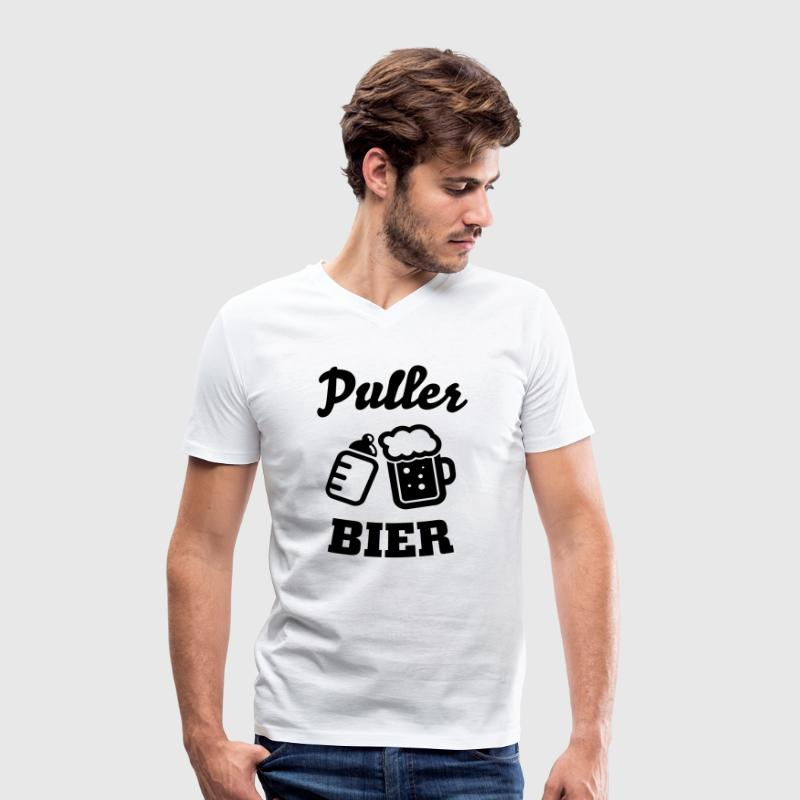 Puller beer T-Shirts - Men's Organic V-Neck T-Shirt by Stanley & Stella