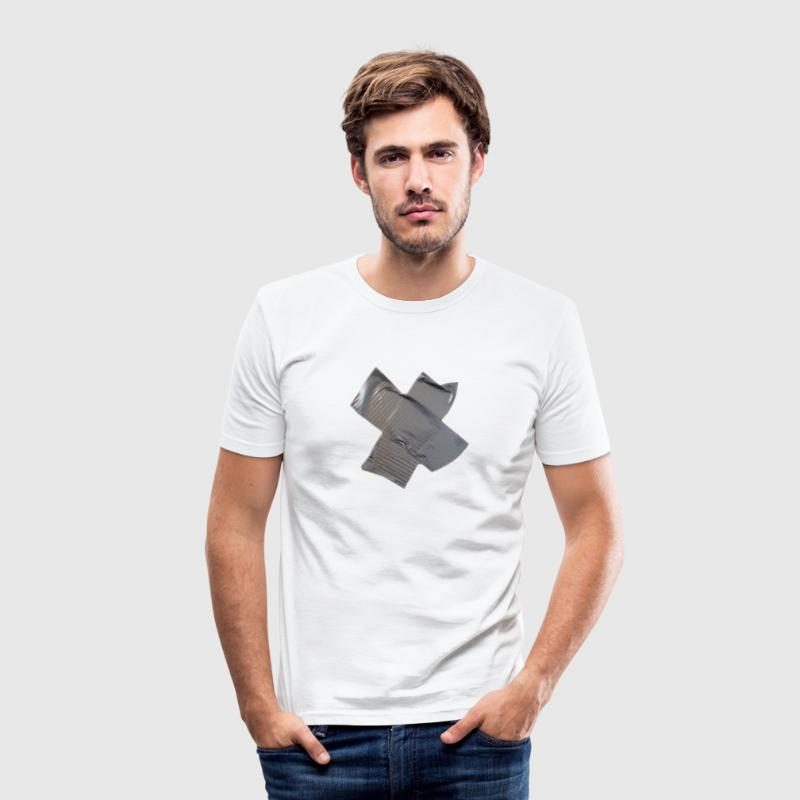 gaffa tape t-shirt - white - Men's Slim Fit T-Shirt