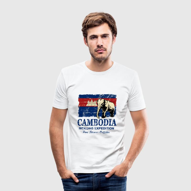 Cambodia - Elephant - Vintage Look  T-Shirts - Men's Slim Fit T-Shirt