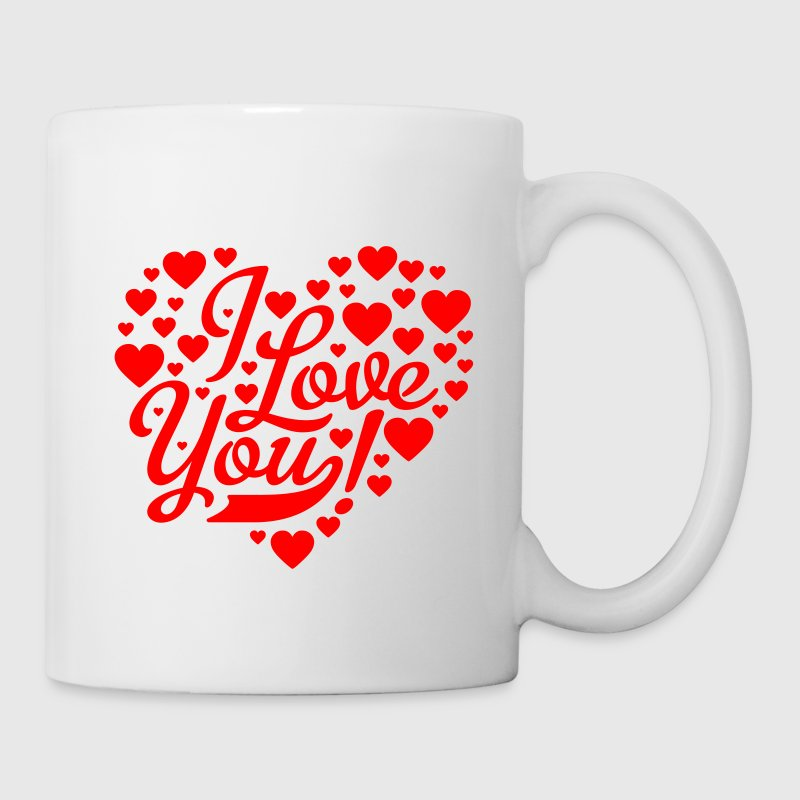 Hvid i love you heart shaped design Krus - Kop/krus