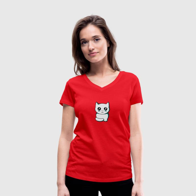 Kitten kawaii T-Shirts - Women's Organic V-Neck T-Shirt by Stanley & Stella