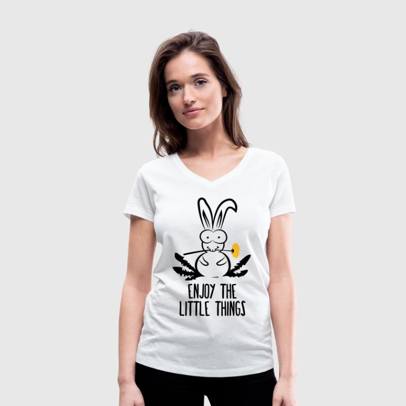 enjoy the little things bunny hare rabbit dandelio T-Shirts - Women's Organic V-Neck T-Shirt by Stanley & Stella