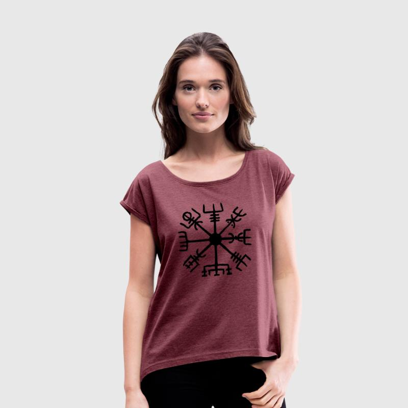 Vegvisir, Magic, Runes,  Protection & Navigation T-Shirts - Women's T-shirt with rolled up sleeves