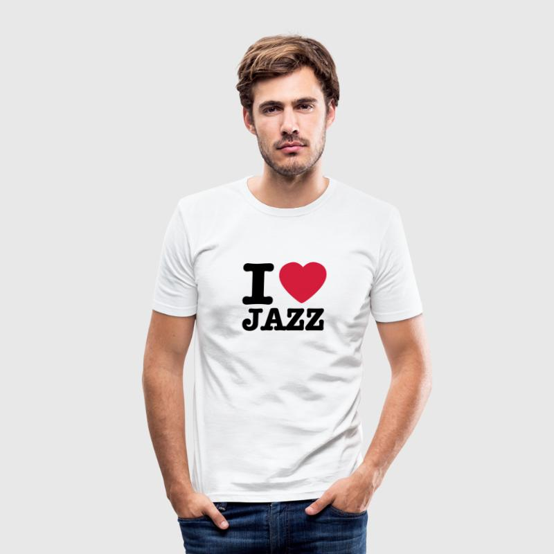 White I love jazz / I heart jazz Men's T-Shirts - Men's Slim Fit T-Shirt