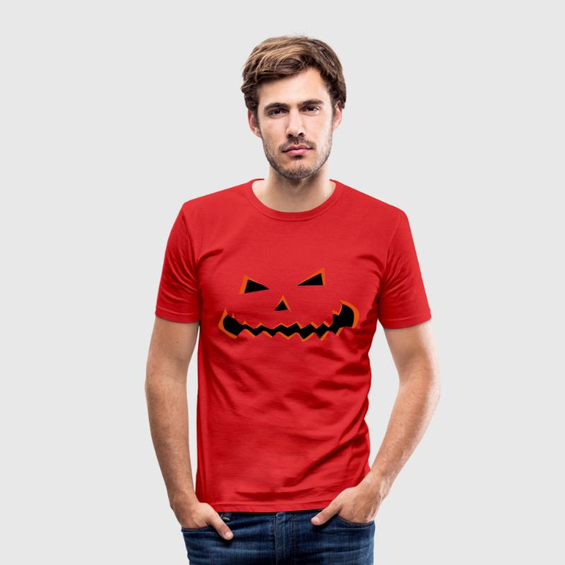 Halloween græskar ansigt  T-shirts - Herre Slim Fit T-Shirt