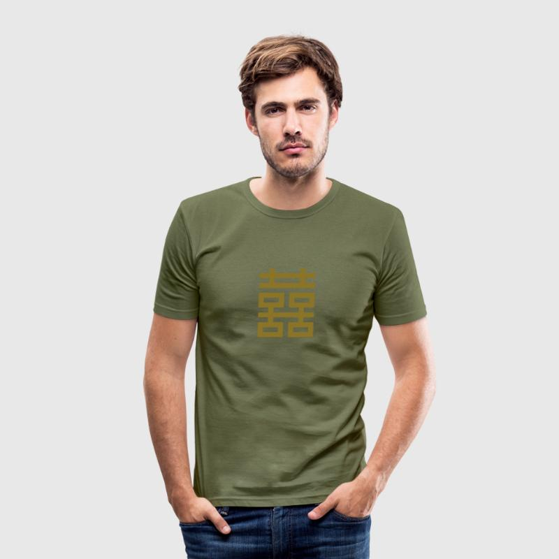 Double Happiness, Chinese good luck charm love T-shirts - slim fit T-shirt