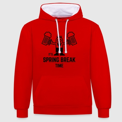 It's Spring Break Time (Beer / 1C) T-Shirts - Contrast Colour Hoodie
